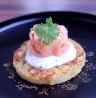 Mac n Cheese Pancake topped with Sour Cream and Smoked Salmon