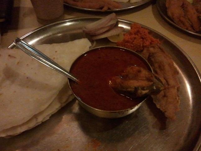 Surmai Masala, rice bhakri and bombil fry