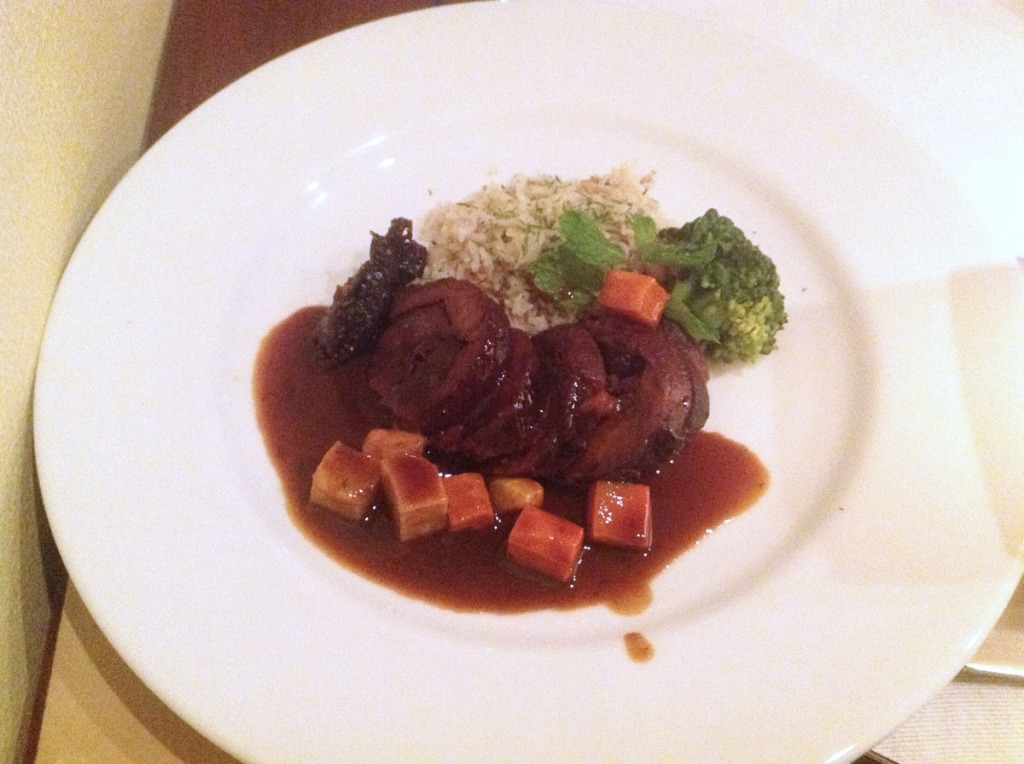 Braised, Stuffed Leg of Lamb Root Vegetables, Persian Rice and Prune Chutney