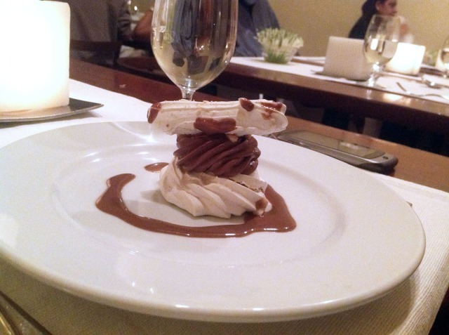 Hazelnut Meringue with Coffee Cream.