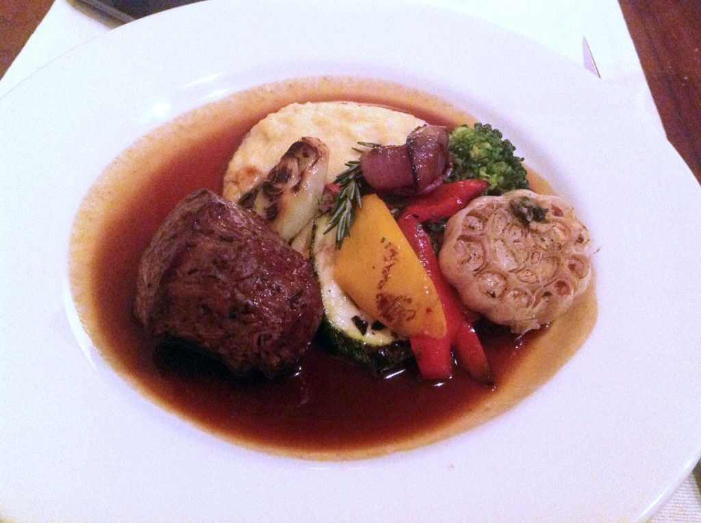 Seared Filet Mignon Grilled and Roasted Vegetables, Mustard Mash Potatoes and Port Demi-Glace