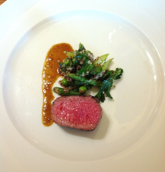 Seared lamb loin with minted quinoa salad