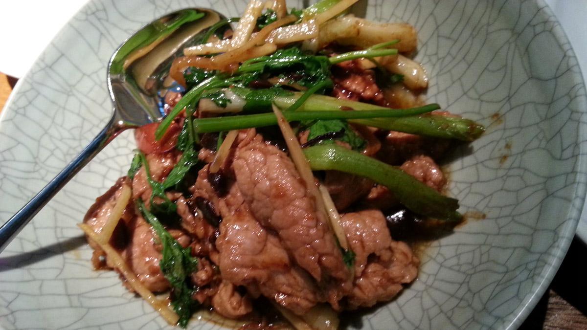 Stir-fried kurobata pork with yellow beans and ginger Photo courtesy: Mehernosh Khajotia