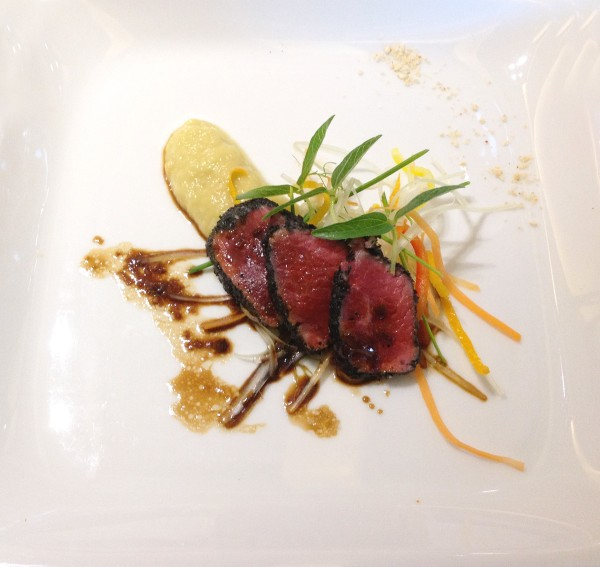 Tataki of lamb loin with ginger, sesame and soy