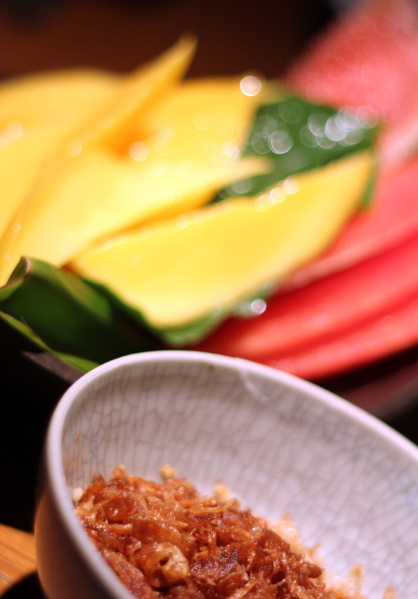 Toasted coconut with watermelon and mango