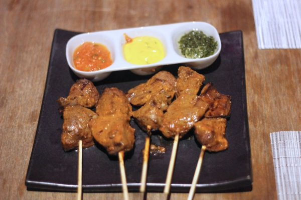 Peruvian style Yakitori of beef heart served with Peruvian sauces Above 11, Bangkok