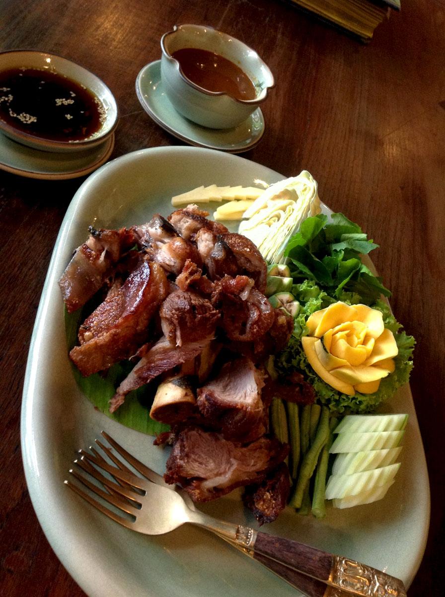 Khar-Moo-Grob-Gang-Tai-Pla (Fried Pork Leg with Southern-Style Fish Curry Sauce) Ruen Mallika, Bangkok