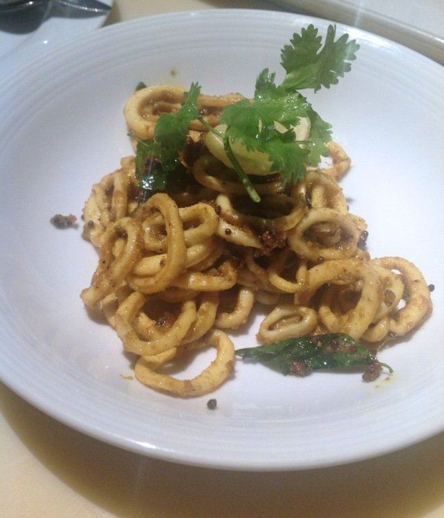 Kerala calamari sautéed in olive oil, garlic & curry leaves Blue Frog, Mumbai