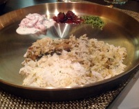 Fish Biryani: The biryani has two layers: a top layer of plain rice cooked in stock and a bottom layer of king fish fish and rice mixed together. Served with raita, date chutney and dry coconut and chilli chutney