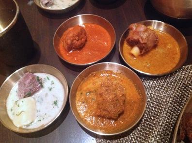 From top left: Kori Kashpu, Mutton Rassa, Kombdi Wade and Mutton Stew.