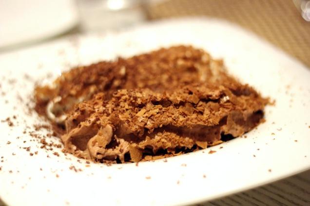 Chocolate crisps, milk chocolate mouse and chocolate powder Gaggan, Bangkok