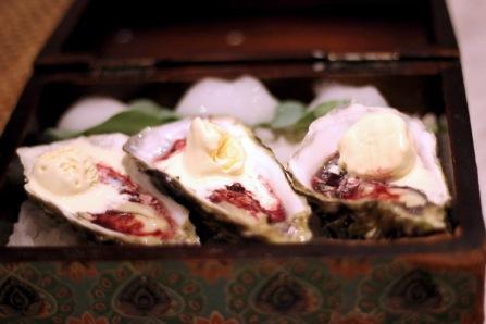 French oysters with kokum nectar and Indian mustard ice cream Gaggan, Bangkok