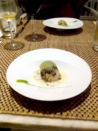 Norwegian diver scallops cooked with young coconut pepper and curry leafs Gaggan, Bangkok
