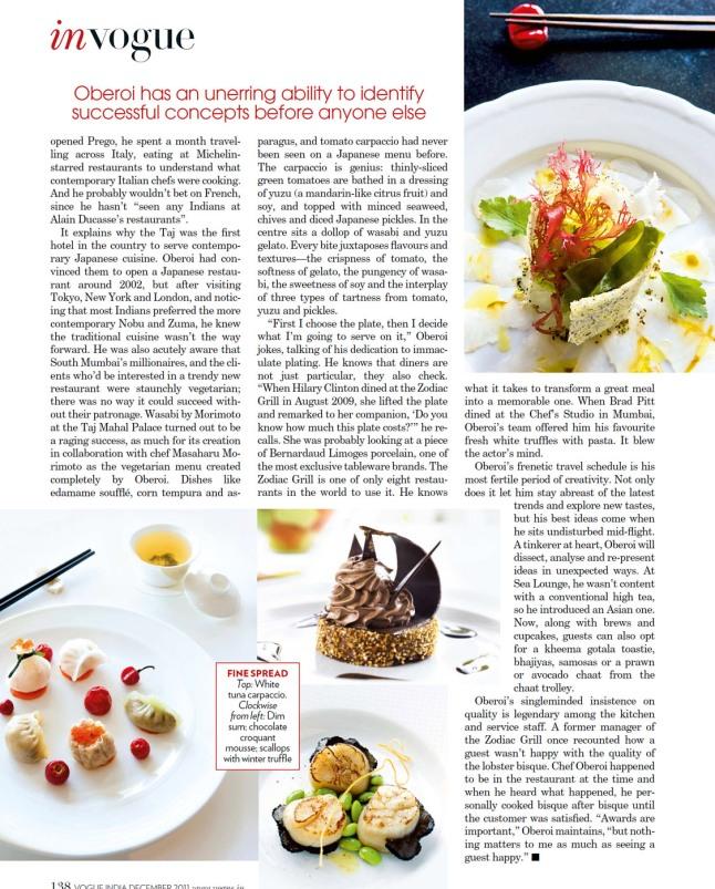 Executive Chef Hemant Oberoi, Taj Mumbai Vogue