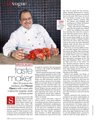 Executive Chef Hemant Oberoi, Taj Mumbai Vogue