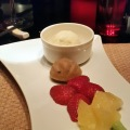 Korean Walnut Bread with fresh fruits and ice cream