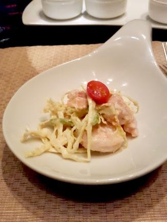 Prawns vegetable salad with wild sesame dressing