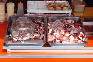 Chopped octopus for Takoyaki filling