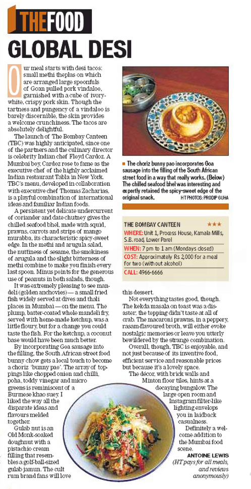 Hindustan Times Mumbai review of The Bombay Canteen