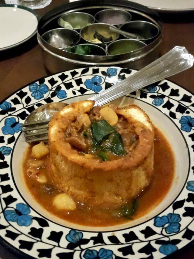 "Choriz ""Bunny"" Pao - Goan sausage and broad beans stew with pui saag The Bombay Canteen, Mumbai"