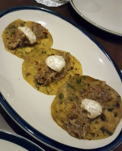 Desi Tacos - Methi theplas topped with Goan Pulled Pork Vindaloo The Bombay Canteen, Mumbai