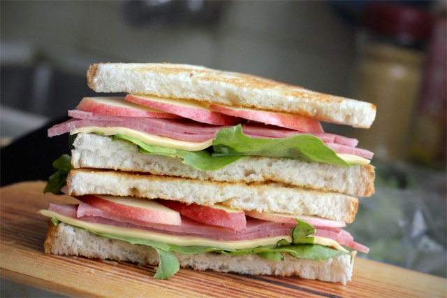 Ham, Cheese, Apple and Arugula Sandwich