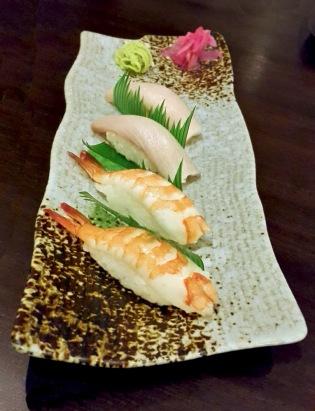 Hamachi and Shrimp Nigiri, Saizen, Colaba