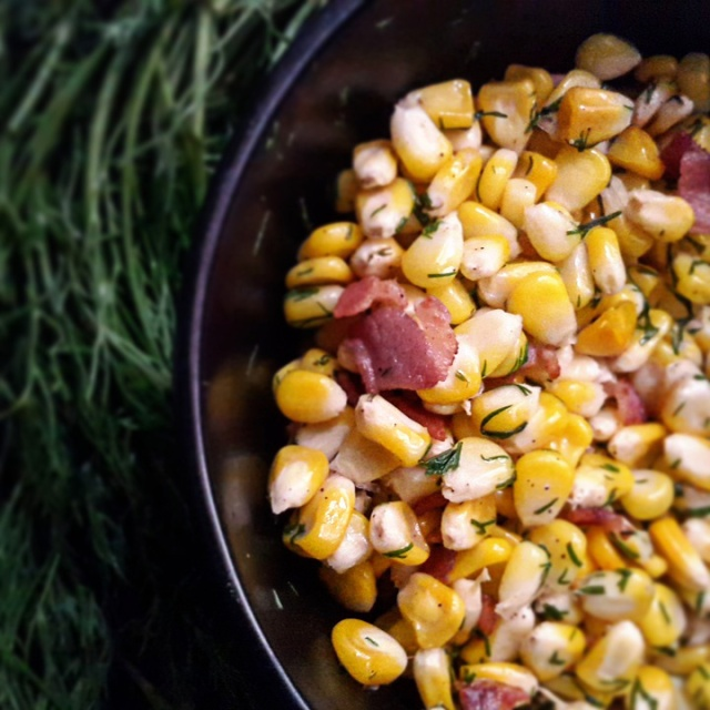 Corn Salad with dill and bacon