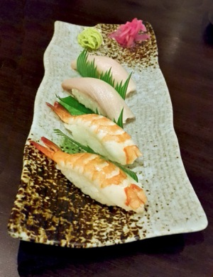 Hamachi and Shrimp Nigiri, Saizen, Colaba low