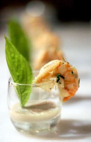 Kaffir lime dressed prawns with a spicy, Amarula dressing