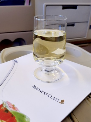 Glass of Riesling, Business Class, Singapore Airlines