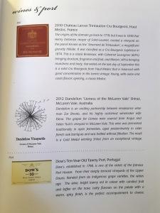Singapore Airines Business Class wine menu