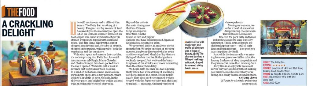 The Fatty Bao, Hindustan Times, Aug 01, 2015