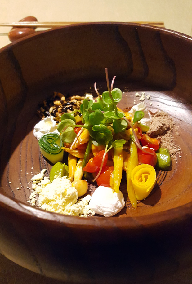 Shimeji Salad spicy ponzu, chocolate sand, puffed barley, puffed rice, mustard powder, cherry tomato, home grown sprouts