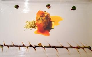 Wagarashi Prawn: mustard powder, tobanjan sphere, baked prawn with mozzarella, wasabi aioli