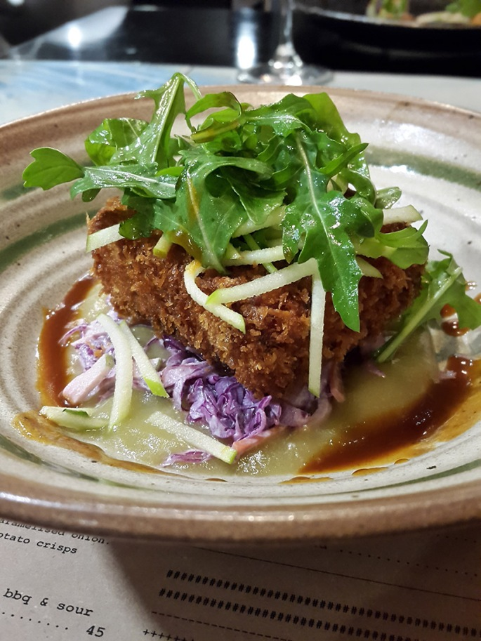 Crumb-fried Pork on Red Cabbage with Wasabi-flavoured Apple Puree, Hive Kitchen and Bar, Melbourne