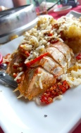 Fried squilla topped with salt pepper fried rice vermicelli noodles. Rainbow restaurant, Lamma Island, Hong Kong