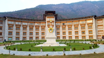 The hotel is on the banks of the Paro river
