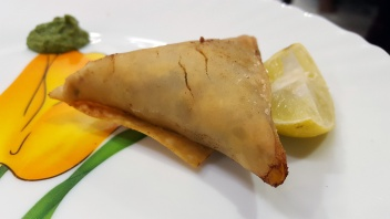 Samosas with smoked mince at The Bohri Kitchen, Mumbai