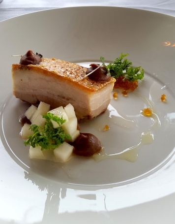 Slow-cooked Victorian pork belly, brown apple puree, apple pearls, pickled pears and chervil Jack Rabbit restaurant, Bellari
