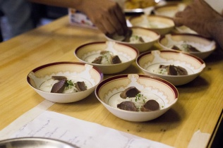 Duck gizzards with radish noodles at one of Doobious Dinners events