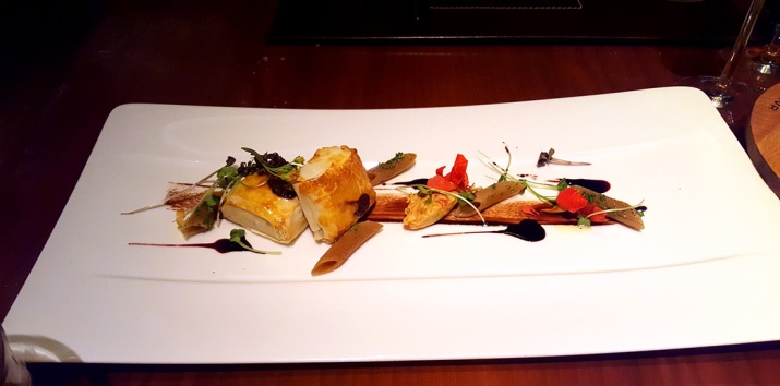 Chocolate ricotta and chilli parcel with Barolo wine reduction, Romano's, JW Marriott, Sahar