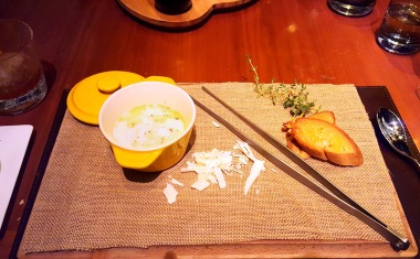 Cream of Parmesan with white chocolate, thyme aroma, Romanos, JW Marriott, Sahar