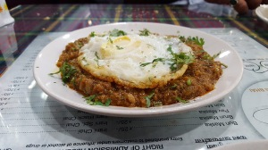 Kheema with fried egg, Cafe Irani Chaii