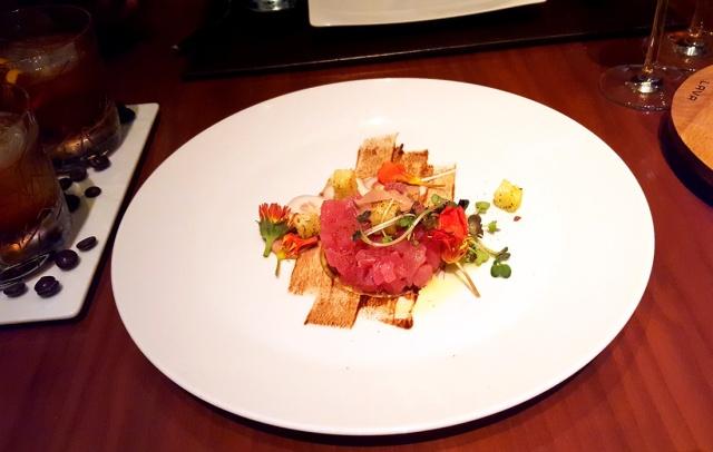 Marinated tuna tartar, citron bread and Sao Tome sour cream, Romanos, JW Marriott, Sahar
