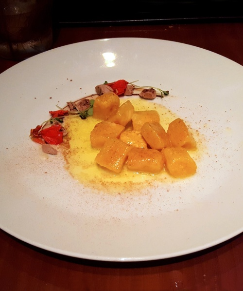 Pumpkin Gnocchi with melted butter and savoury, 39% Arriba meringues, Romanos, JW Marriott, Sahar