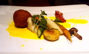 White asparagus on saffron coulis, infused milk chocolate arancini, Romanos, JW Marriott, Sahar