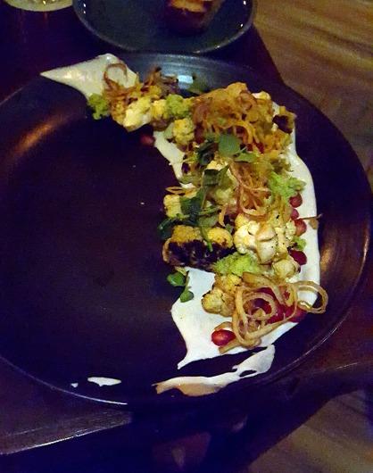 Cauliflower, Cashew Hummus, Pomegranate, Mint Cilantro Chutney, One Street Over