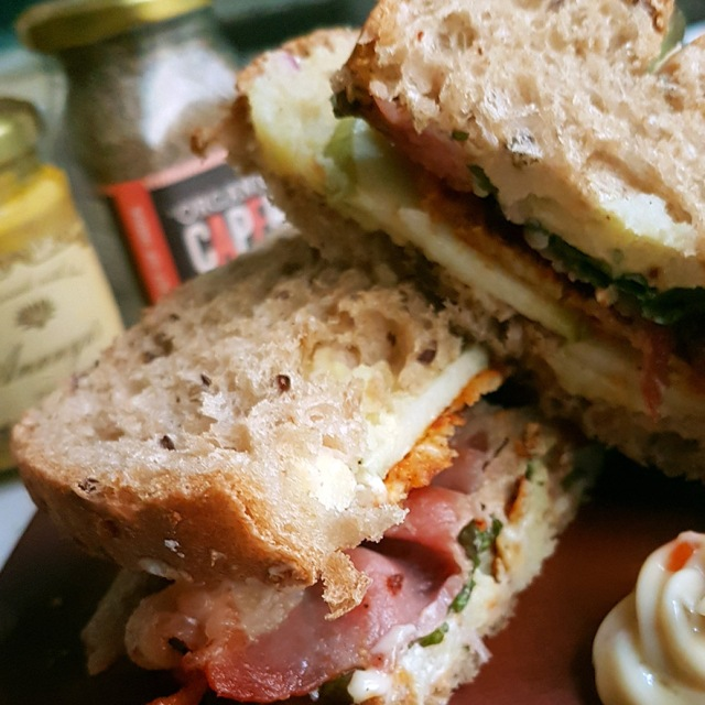 Sandwich with bacon, fried cheese and mashed potato
