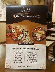 Thali menu, Juss by Sindhful, Khar, Mumbai